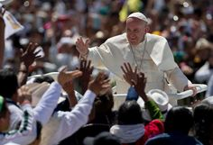 Pope Francis waves to the crowd as he leaves after celebrating Mass in San Cristobal de las Casas, Mexico, Monday, Feb. 15, 2016. Francis is celebrating Mexico's Indians on Monday with a visit to Chiapas state, a center of indigenous culture, where he will preside over a Mass in three native languages thanks to a new Vatican decree approving their use in liturgy. The visit is also aimed at boosting the faith in the least Catholic state in Mexico. Photo: Eduardo Verdugo, AP / AP