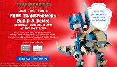 Toys R Us – Kre-O Optimus Prime Lego Build on 6/28