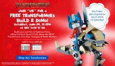 Toys R Us – Kre-O Optimus Prime Lego Build on 6/28