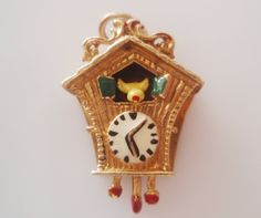Large 9ct Gold Enamel Cuckoo Clock Charm Moves - hallmarked GJLd London, Year 1972.