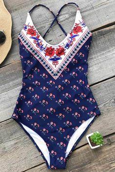 7c01b0a80e9d8 Cupshe I Will Stay Print One-piece Swimsuit #swimwear#bikini#beach#