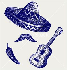Mexican symbols vector - by kreatiw on VectorStock®