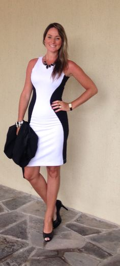 Look de trabalho - look preto e branco - look black and white - vestido preto e branco