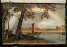 Turner, A Barge on the Thames near Isleworth- a Rainbow 1805
