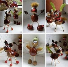With chestnuts .: the paradise of a passio Easy Fall Crafts, Diy And Crafts, Arts And Crafts, Deco Noel Nature, Diy For Kids, Crafts For Kids, Godfather Gifts, Godparent Gifts, Conkers