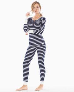 Holiday Long Sleeve Pajama Set Whisper Stripe Blue
