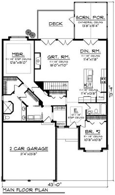 European Style House Plan - 2 Beds 2 Baths 1625 Sq/Ft Plan #70-1161 Floor Plan - Main Floor Plan - Houseplans.com