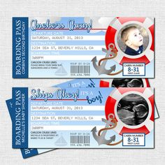 BOARDING PASS INVITATIONS Cruise Ship Nautical Baby Shower or Birthday Party (printable)
