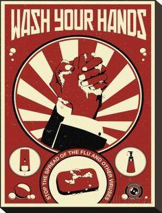 fürs WC :)  Wash Your Hands Leinwand von Steve Thomas bei AllPosters.de