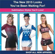 Get creative with sublimated! Team Cheer's NEW sublimated practice wear and uniforms are sure to make a statement! With unlimited design options, your team can create a totally custom look!  #custom #cheeruniforms #cheerleading #teamwear #sublimated