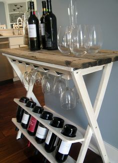 DIY wine rack makeover-I have an almost identical 'before' table & my mom has one identical to mine, both of which are sitting in garages right now…