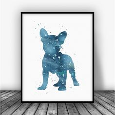 French Bulldog, Cyan Art Print Poster by Carma Zoe From $10.00