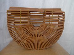 Vintage Half Circle Wooden Wicker Purse by thecoifs on Etsy