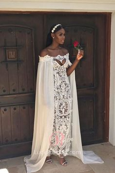 Wedding Styles Ivory illusion chemical lace Boho wedding dress with cape. Off-the-shoulder caped exclusive lace long bridal gown. - Ivory illusion chemical lace Boho wedding dress with cape. Off-the-shoulder caped exclusive lace long bridal gown. African Wedding Dress, Boho Wedding Dress, Lace Wedding, Cape Dress, Dress Up, Bridal Gowns, Wedding Gowns, Wedding Hijab, Wedding Cakes