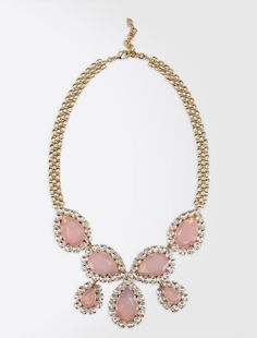 Max Mara ADORATO pink: Gem and rhinestone necklace.