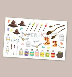 This listing is for ONE Harry Potter decoration sheet. Please choose the sticker finish from the drop down menu. Cute set of Harry Potter inspired First Harry Potter, Harry Potter Decor, Erin Condren, Filofax, Planner Stickers, Harry Potter Stickers, Personal Planners, Planner Decorating, Travelers Notebook