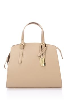 Neutral Giulia Massari Bycast Leather Satchel for every day