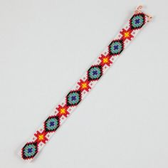 This Zia and Turquoise Bead Loom bracelet was inspired by all the beautiful Native and Latin American patterns I see around me in Albuquerque, New Diy Friendship Bracelets Patterns, Loom Bracelet Patterns, Seed Bead Patterns, Beading Patterns, Beaded Braclets, Bead Loom Bracelets, Woven Bracelets, Beaded Lanyards, Bead Jewellery