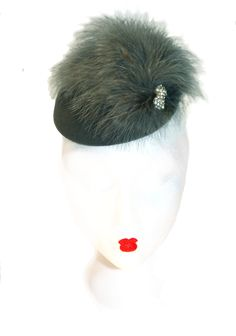 Pewter marabou trimmed cocktail hat by www.fifilabelle.com