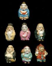 Japanese Arita Porcelain Buttons..Complete Pristine Set Full-Body Immortals Gods