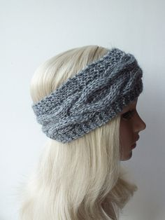 Grey Handmade Knitted Headband  Headwrap Earwarmer by DachuksB, $12.00