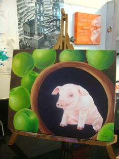 #painting #oiloncanvas #oleosobretela #pig #apple #surrealismo #flavialima #pintura