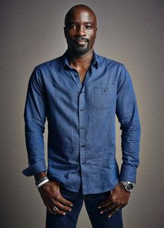 'Jessica Jones' Actor Mike Colter Is Our And Here's Why - Essence Mike Colter, Denim Button Up, Button Up Shirts, Randal, Jessica Jones, Good Looking Men, Gorgeous Men, Portrait Photography