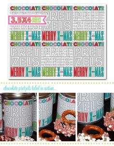 chocolate covered pretzels, holiday labels, diy holiday printables, christmas gifts, holiday gifts, teachers gifts, diy labels via party box design