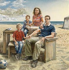 family at the beach People Art, Naive, Van Gogh, Family Portraits, Netherlands, Holland, Couple Photos, Beach, Illustration