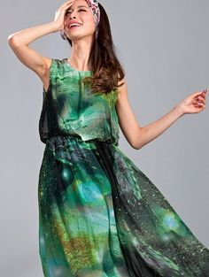 Womens Galaxy Print A line Spring Galaxy Dress by CrazyGalaxy, $37.10