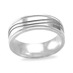 Mens White Gold Wedding Band with a Wave Carved Pattern