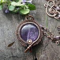 Wire Wrapped Jewelry  Copper & Amethyst Necklace by MyWillowGems