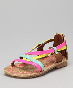 Take a look at this Yellow & Pink Mahel Sandal by Carter's on #zulily today!