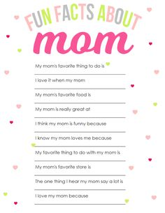 Fun Facts About Mom Mother's Day Printable | The Girl Creative Help your little ones fill out this fun questionnaire all about mom for Mother's Day and give mommy a gift that she can hold onto for a lifetime. Make this a yearly event so you can look back on it over the years to laugh at the silly answers and see how you have (or haven't) changed.