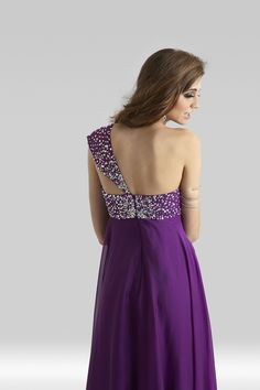8add532b0d Clarisse 2014 Plum One Shoulder A-Line Beaded Long Gown 2328