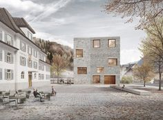 Alpin Sport Zentrale Schruns | bernardobader.com render breuksteen compositie plooi knik plein