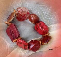 Bracelet grosses perles tons oranges et brique; pierres, bois céramique