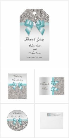 Wedding Teal Bow Silver Sequins
