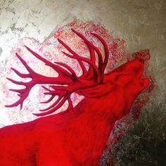 Roaring Stag on red and gold leaf by Louise McNaught (2015) 100x100cm #stag #art #artwork #arty #artsy #interior design #home decor #beauty #loveart #contemporary art #love #deer #neon #luxury #painting #artist mixed media #gallery