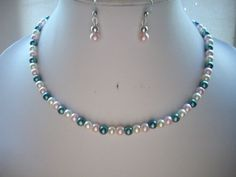Pink Green and Ivory Pearl Single Strand by DesignsbyPattiLynn, $45.00