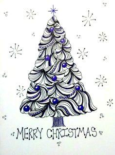 Christmas Zentangle, het ziet er zo simpel uit....maar daar geloof ik niets van. In ieder geval prachtig!