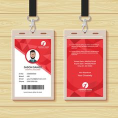 Red Geometric Employee Id Card Design Stock Vector (Royalty Free) 1030249819 Id Card Template, Card Templates, Business Card Design Inspiration, Business Design, Identity Card Design, Employee Id Card, Corporate Id, Corporate Offices, Feature Wall Design