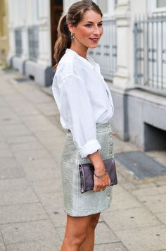 Casual Chic Outfit :: Metallic button down skirt and my boyfriend's shirt