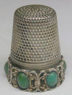 Antique Victorian Sterling Silver Jade Cabochon Thimble Vintage 1284 I | eBay / 125.00