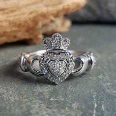 Claddagh Engagement Ring, Diamond Claddagh Ring, Crown Engagement Ring, Claddagh Rings, Wedding Engagement, Round Cut Diamond, Round Diamonds, Diamond Stone, White Gold Diamonds