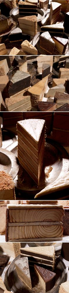 Wooden. Cake. I am in love. LOVE! Atlanta based artist David Baerwalde