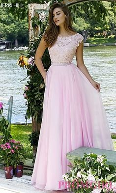 Sherri Hill Long Cap Sleeve Dress with Lace Embroidery at PromGirl.com