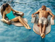 """Our Extra-large Floating Pool Chaise is 10"""" longer and 4"""" wider than the original -- an ultra-comfortable pool float for even the tallest user."""