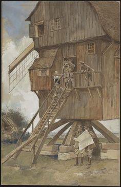 Moulin au mont des Cats, août 1917. François Flameng.