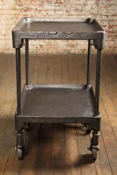 Industrial Furniture, Vintage Two Tier Cast Iron Rolling Bar Cart/Table |  Tables (